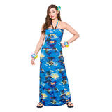 Hawaii Maxi Dress Blue Palm Costume for Hawaiian Tropical Fancy Dress Outfit