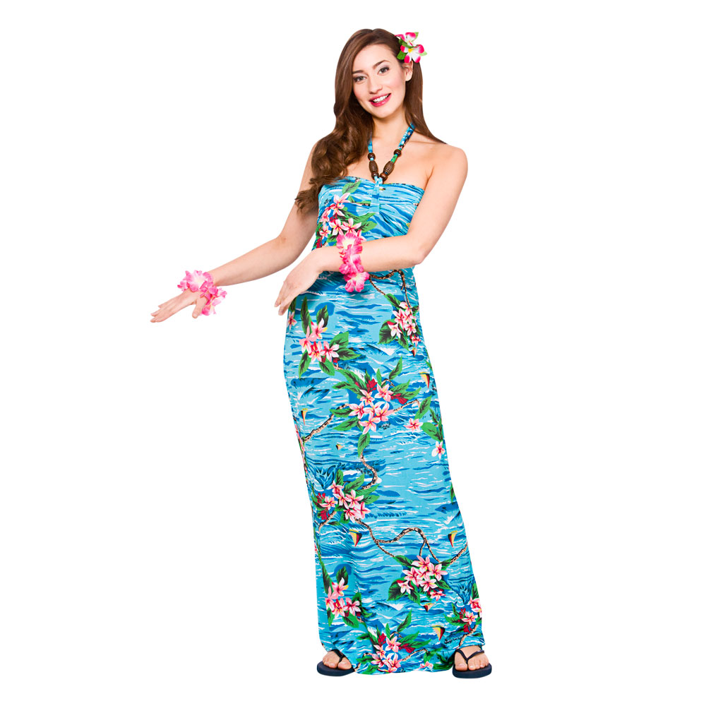 Hawaii Maxi Dress Orchid Ocean Costume for Hawaiian Tropical Fancy ...