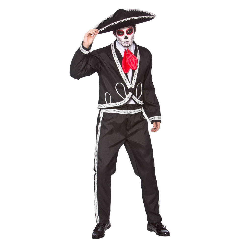 Mens Deluxe Mariachi Day Of the Dead Costume for Mexican Halloween Fancy Dress