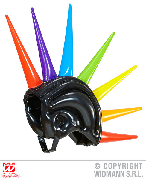 INFLATABLE MULTICOLOR SPIKES HELMET PUNK Hat Blow-up for 60s 70s 80s Rock Mod An
