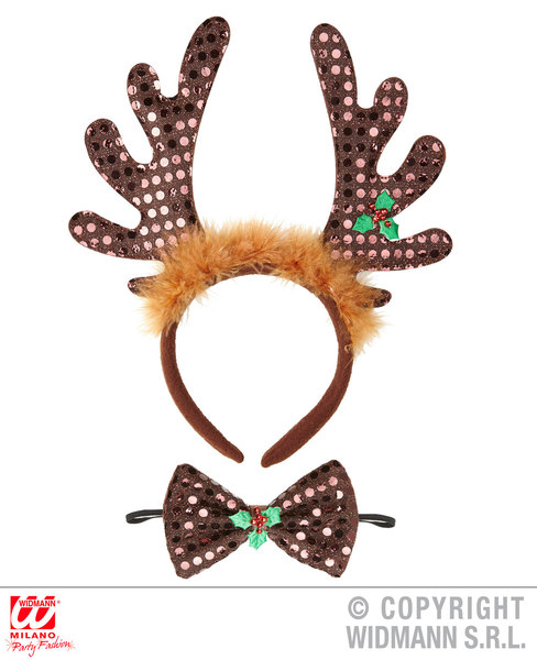 SEQUIN REINDEER HORNS & BOW TIE Accessory for Christmas Animal Festive Fancy Dre