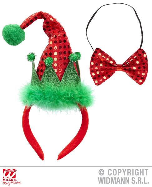 MINI SANTA'S LITTLE HELPER HAT & BOW TIE Accessory for Father Christmas Fancy Dr