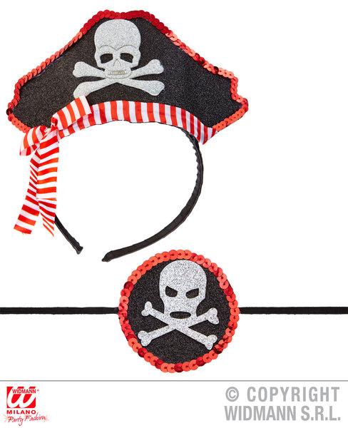 MINI PIRATE HAT & EYE PATCH Accessory for Buccaneer Sailor Jack Blackbeard Fancy