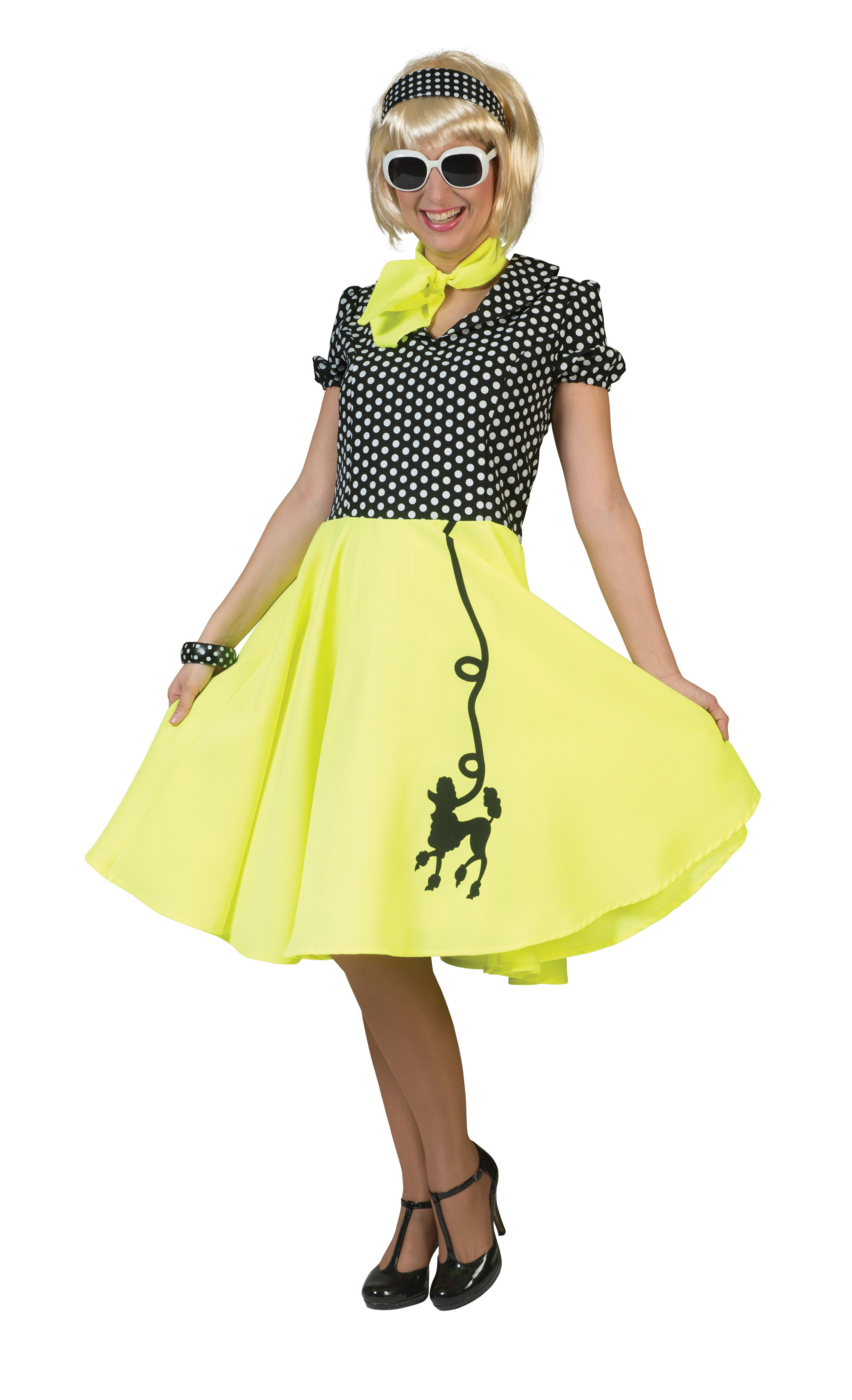 Ladies Poodle Dress Yellow/Black Costume 50s Rockabilly Fifties Fancy Dress