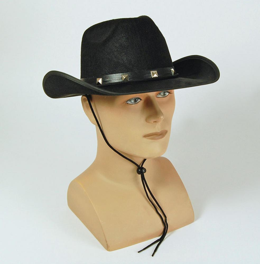Black Felt Cowboy Studded Hat American Wild West & Indians Fancy Dress Accessory
