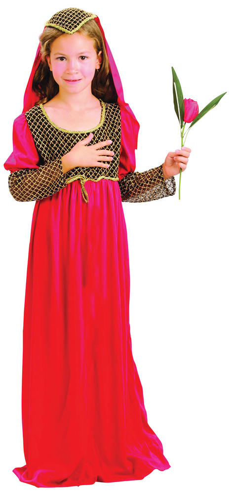 Girls Juliet Costume Romeo Shakespear Capulet Montague Lovers Fancy Dress Outfit