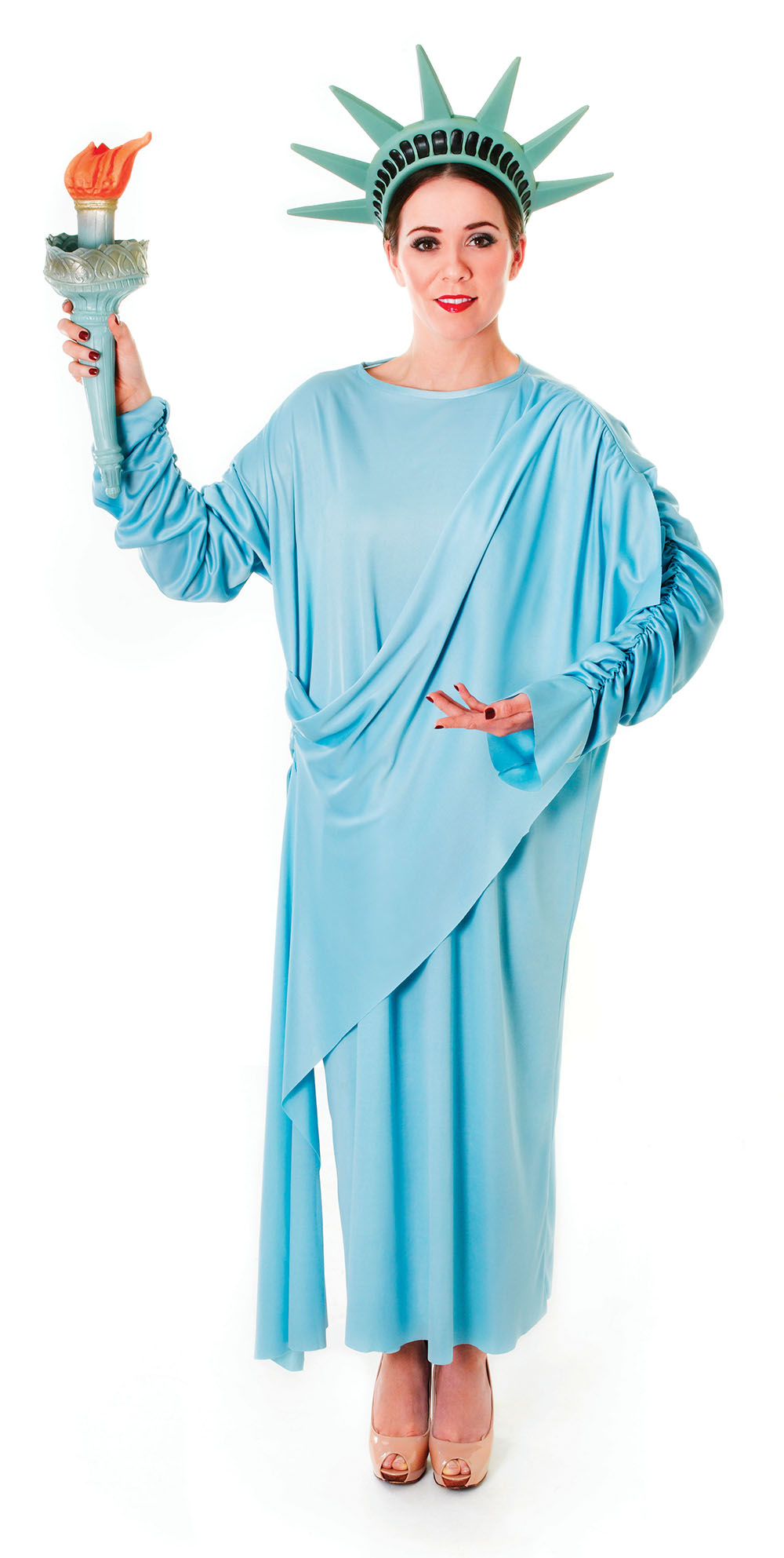 Ladies Statue of Liberty Costume USA American Fancy Dress Outfit ...