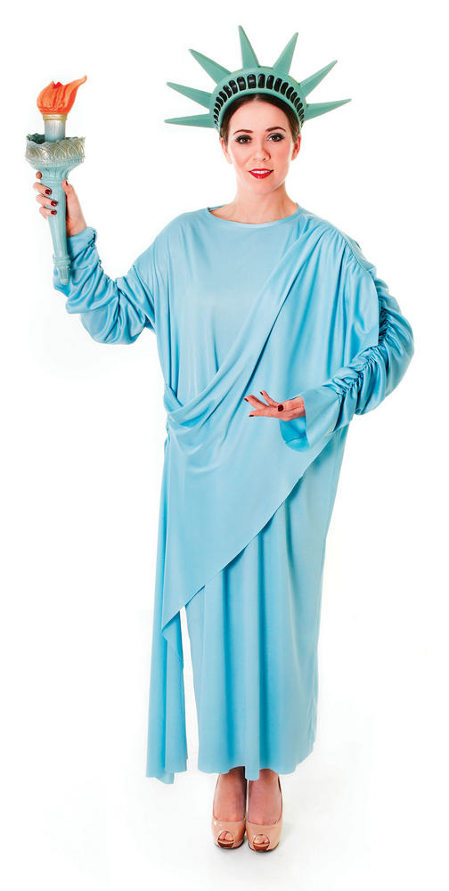 Ladies Statue of Liberty Costume USA American Fancy Dress Outfit