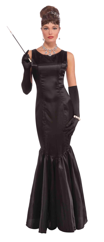 Long black 50s dress costume