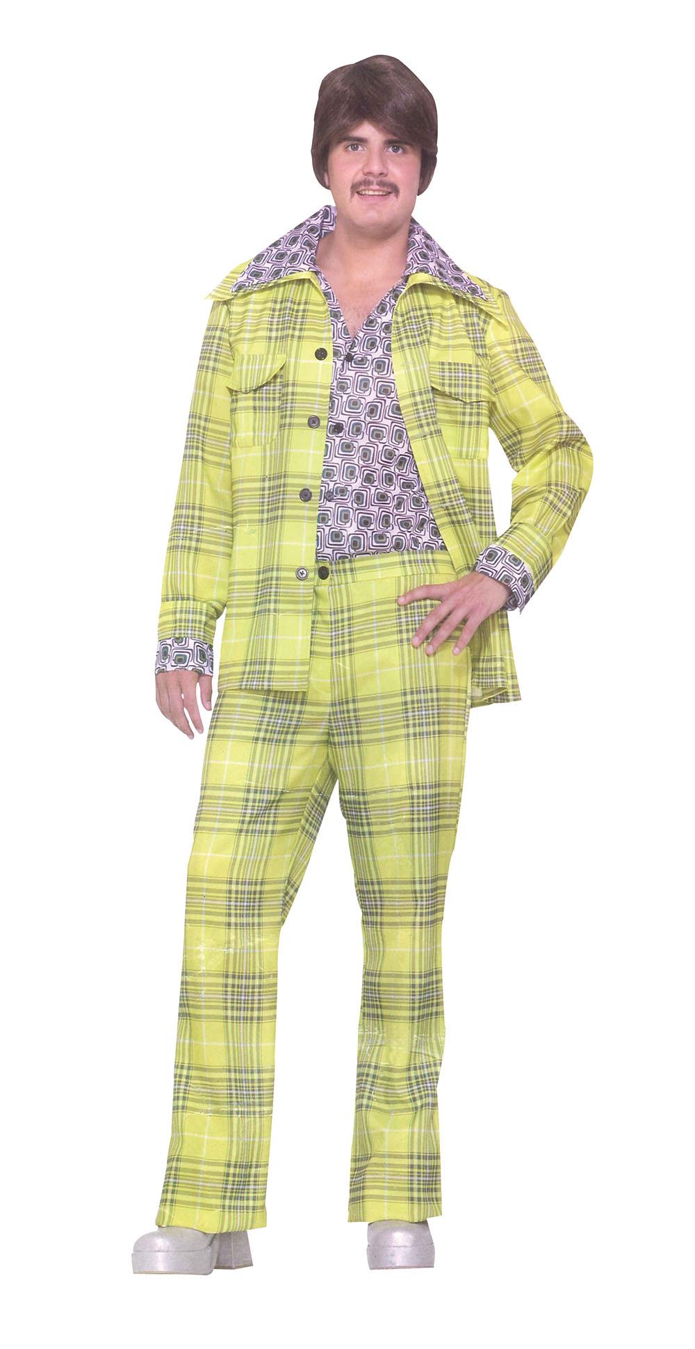 Mens Leisure Suit Plaid Costume for 70s 80s Fancy Dress Outfit Adult  sc 1 th 313 & Mens Leisure Suit Plaid Costume for 70s 80s Fancy Dress Outfit Adult ...