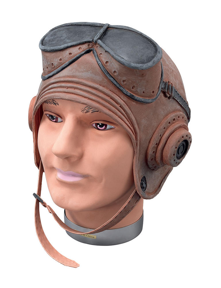 Biggles Helmet Rubber WWII RAF Fighter Pilot Fancy Dress Accessory