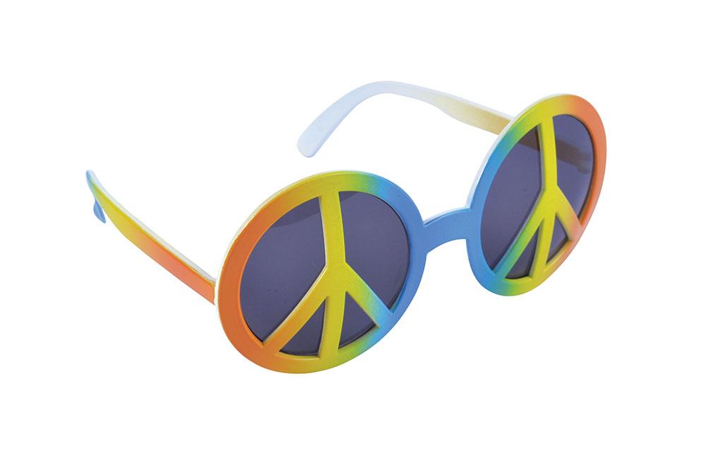 Rainbow Peace Glasses Hippie 60s 70s Mod Retro Vintage Fancy Dress Accessory