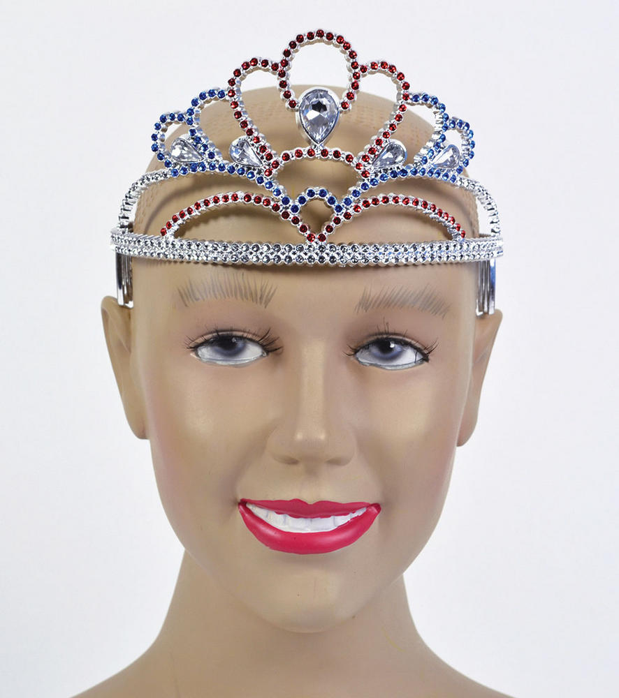 Tiara Plastic Red/Silver/Blue Princess Fairy Queen Fancy Dress Accessory