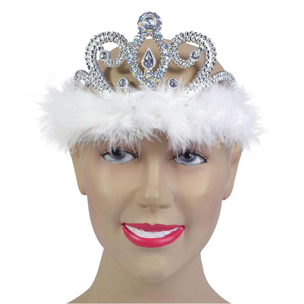 Tiara Silver Clear Stone + White Marabou Princess Fairy Queen Fancy Dress