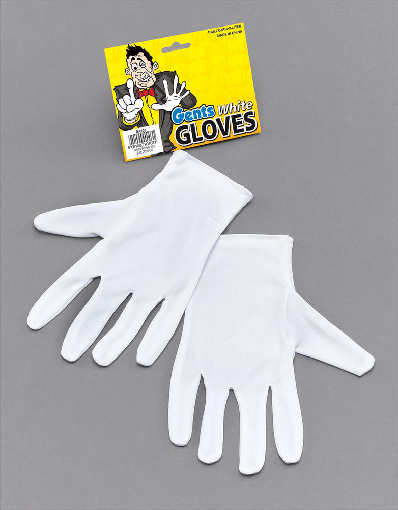 Gloves White Magicians Victorian Ripper Fancy Dress Accessory