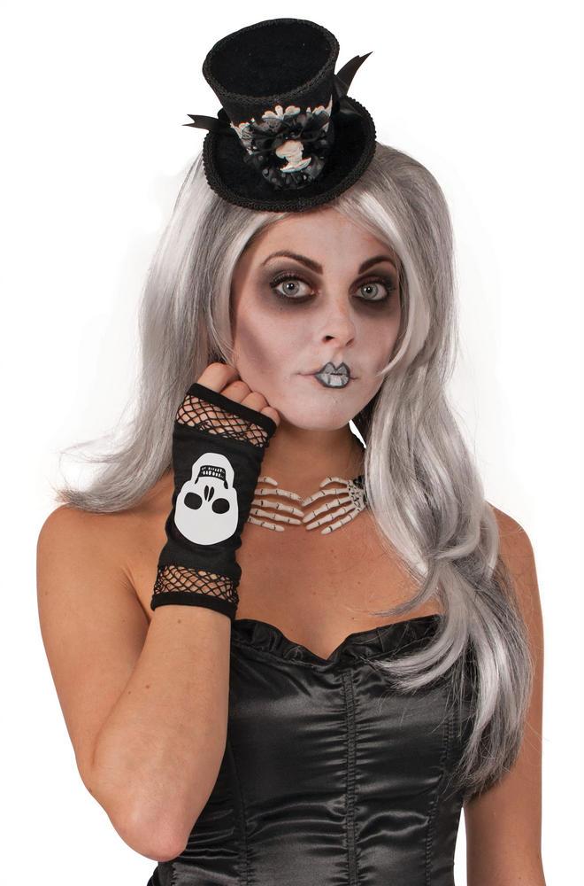 Skeleton Fingerless Fishnet Gloves Living Dead Halloween Pirates Fancy Dress