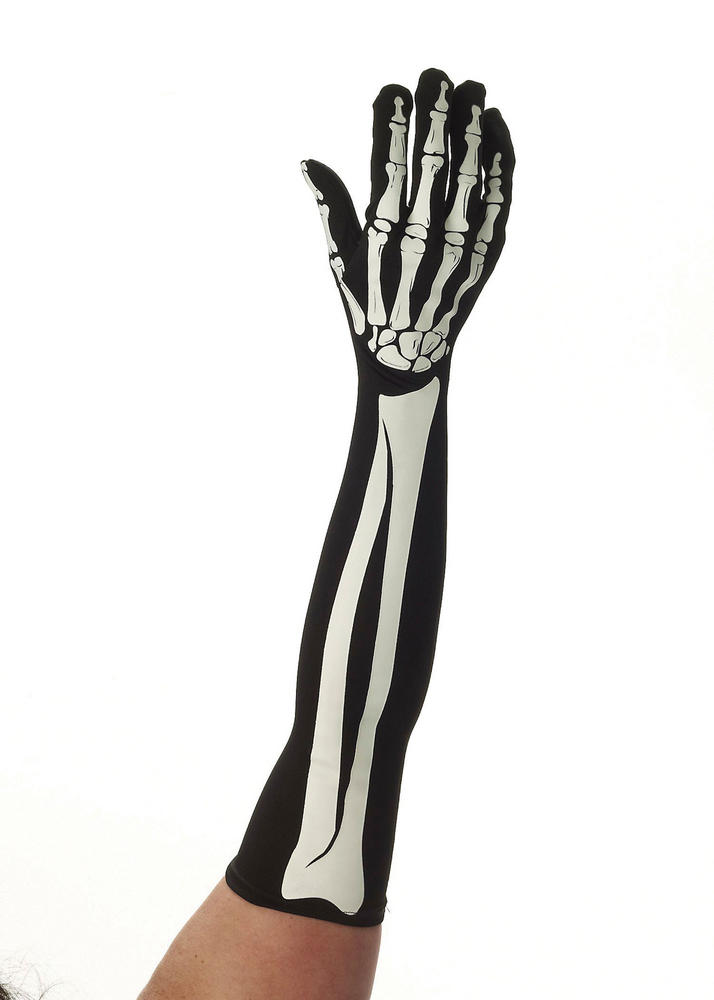 Skeleton Long Gloves Living Dead Halloween Skull Pirates Fancy Dress Accessory