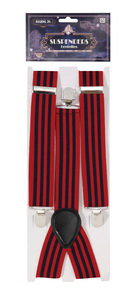 Braces Striped Red/Blue for 80s 70s 60s 50s Punk Pop Disco Fancy Dress Accessory