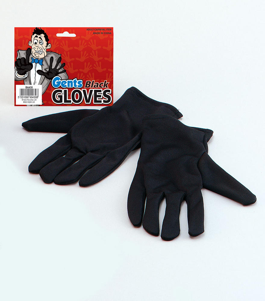 Victorian Gloves Gents Black 18th Century Dickensian Edwardian Fancy Dress