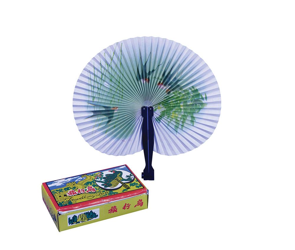 Chinese Paper Fans Plastic Handle Oriental Coolie Asian Thai Fancy Dress Party