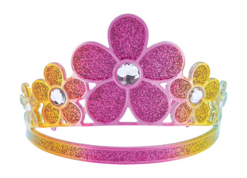 Glitter Rainbow Flower Tiara Princess Fairy Queen Cosmetic Artist