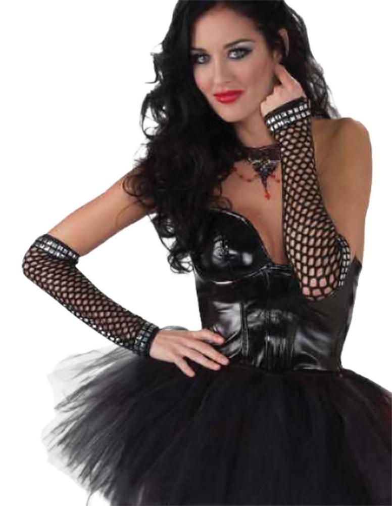 Punk Studded Fishnet Gloves Gloves Accessory for 70s 80s Rocker Fancy Dress Glov