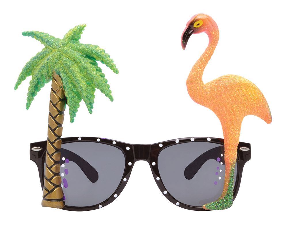 Tropical Flamingo Palm Tree Glasses Hawaiian Beach Summer Fancy Dress Accessory