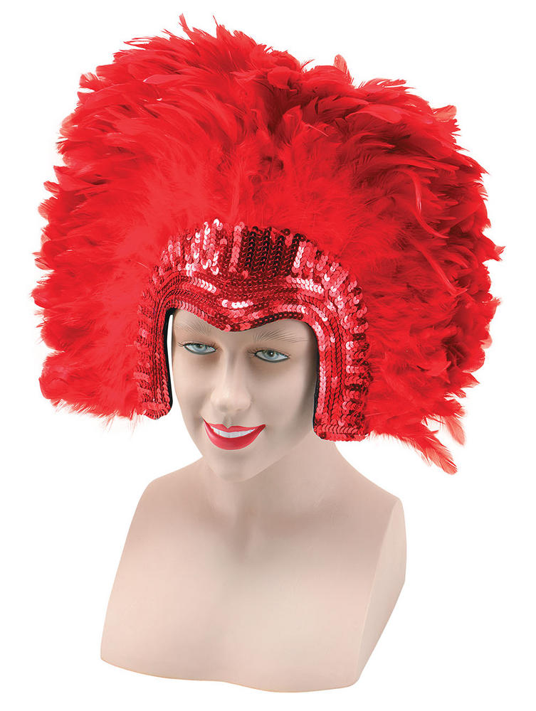 Deluxe Carnival Red Feather Headdress Circus Parade Clown Fancy Dress Accessory