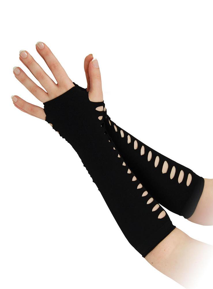 "80s Gloves Ladder Style Black 10"" 80s Disco Pop Retro Fancy Dress Accessory"