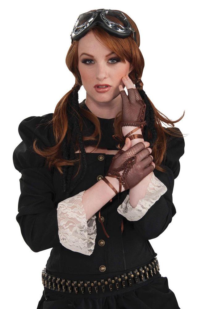 Steampunk Fingerless Gloves Brown Steam Punk Victorian Adventurer Fancy Dress