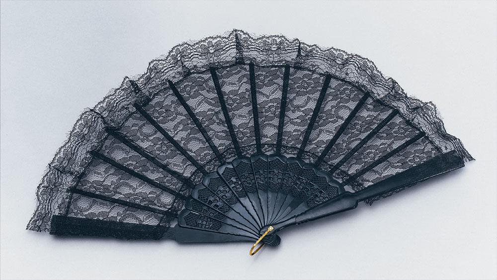 Victorian Fan Black 18th Century Dickensian Edwardian Fancy Dress Party