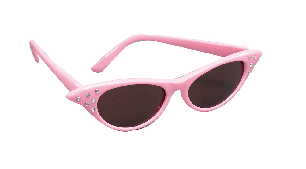 Sunglasses/Dark Lens Pink 50s 50s Rockabilly Fifties Fancy Dress Accessory