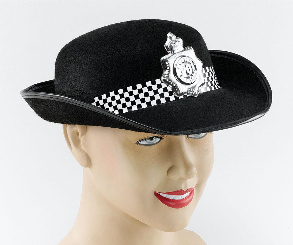 Woman WPC Felt Hat Female Police Officer Cop Juliet Bravo Fancy Dress Accessory