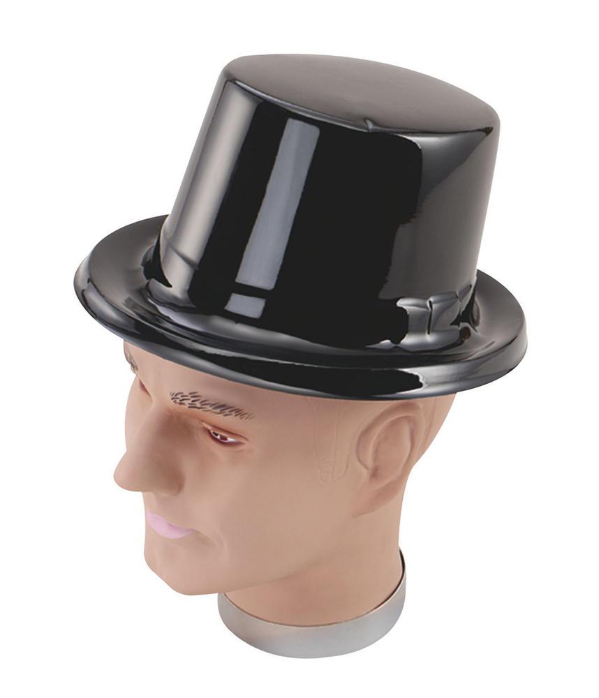 Black Plastic Victorian Hat 18th Century Edwardian Fancy Dress Accessory
