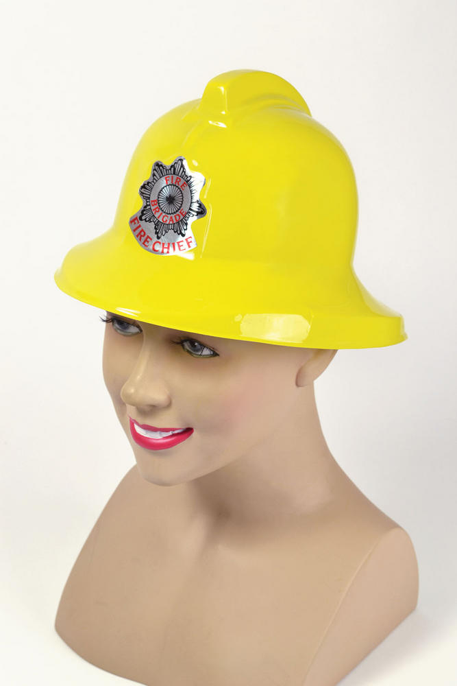Fireman Helmet Yellow plastic Fireman Firefighter Fire Fancy Dress Accessory