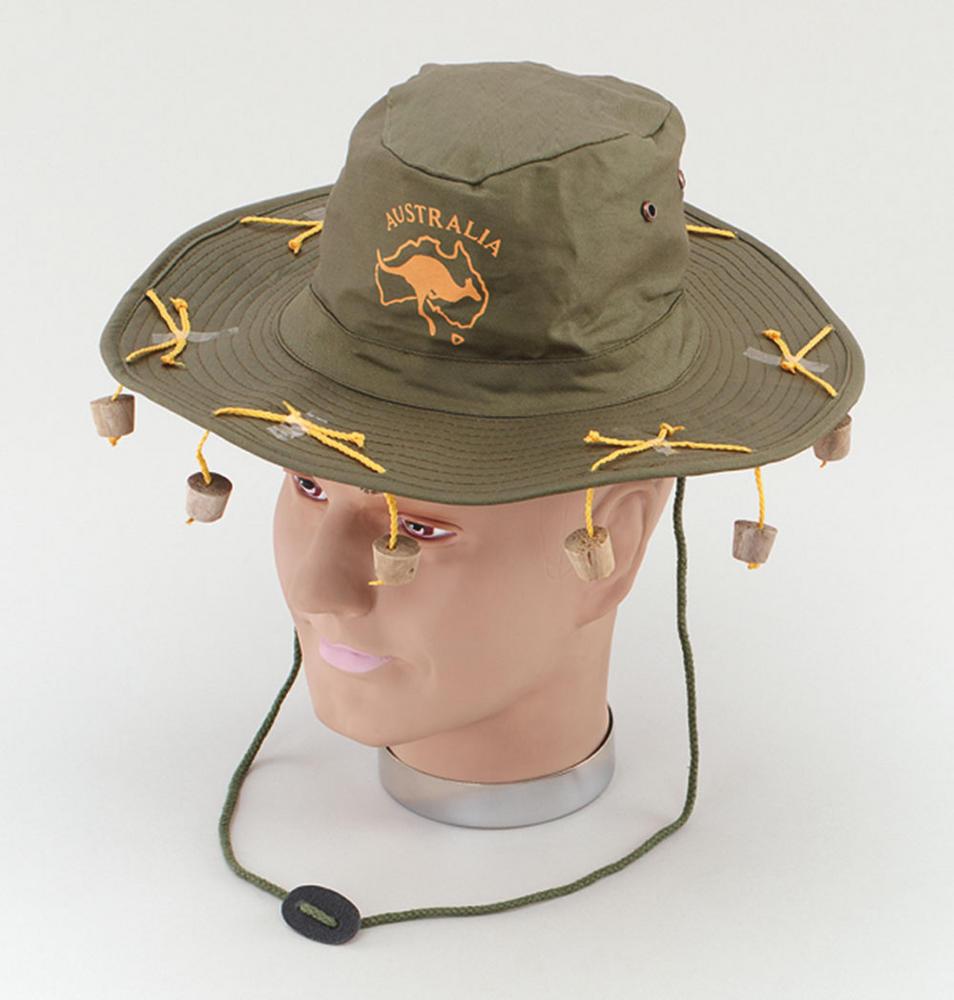 Australian Hat With Corks Aussie Australian Antipodean Fancy Dress Accessory