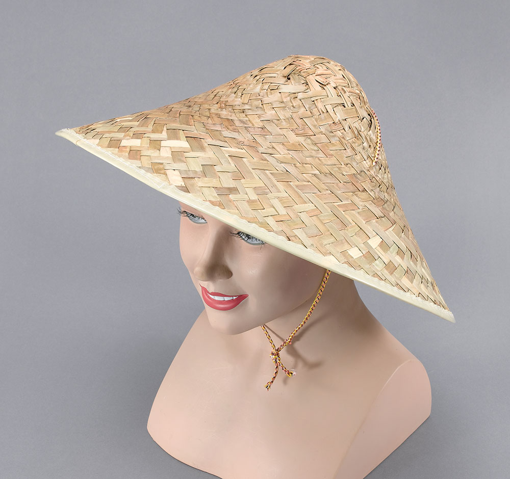 Coolie Hat Straw Hat Accessory for Chinese Oriental Far East Fancy Dress Hat