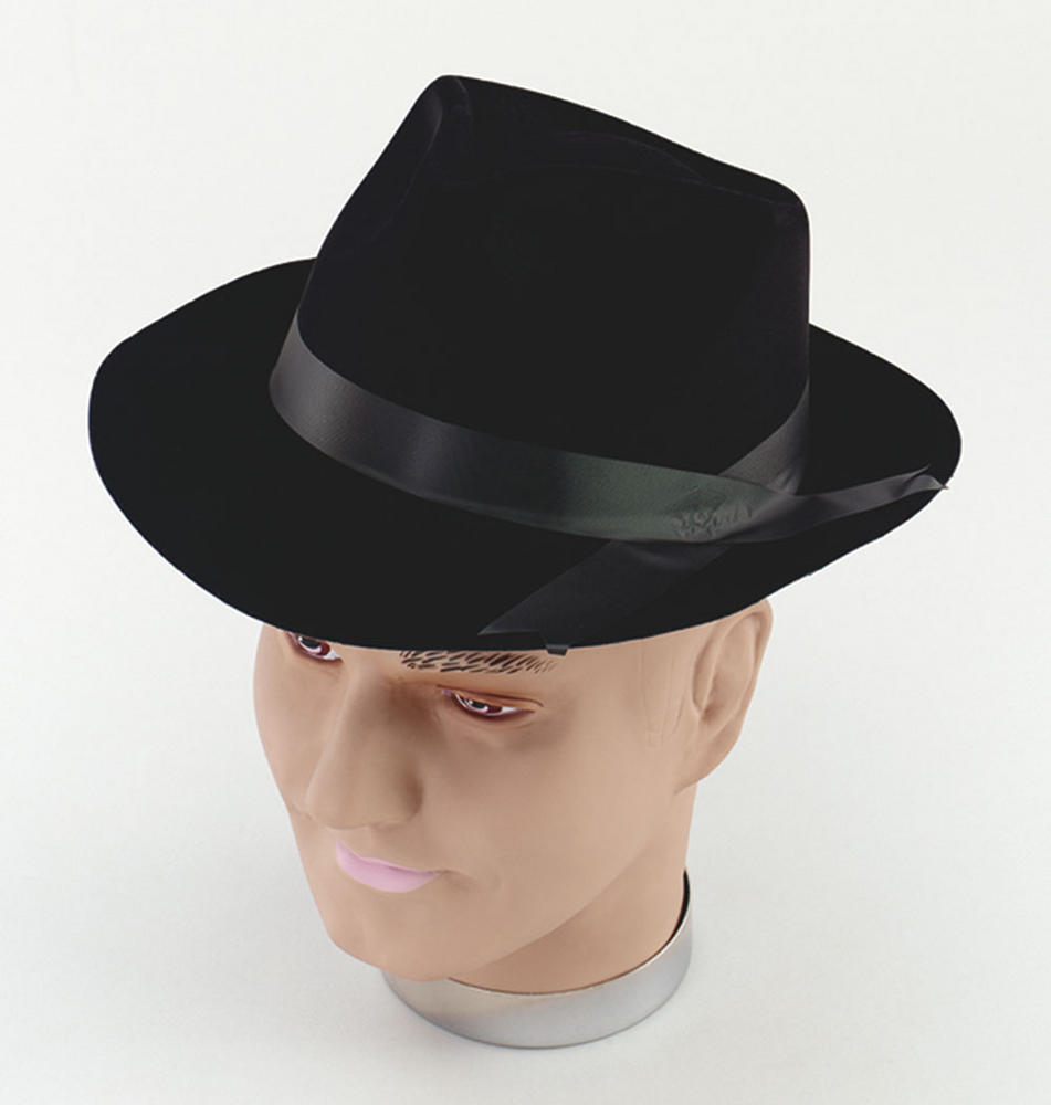 Gangster Hat Black Flock 20s 30s Mobster Mob Criminal Fancy Dress Accessory