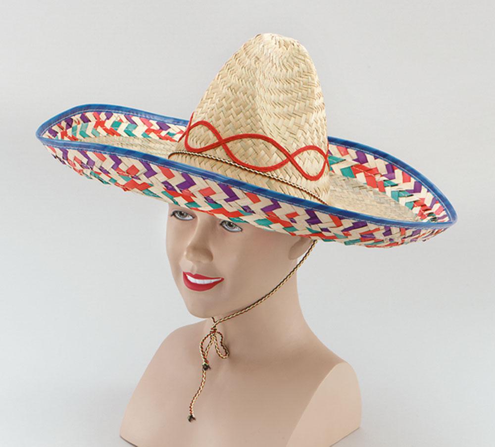 Mexican Straw Sombrero Hispanic Wild West Cowboy Bandit Fancy Dress Accessory