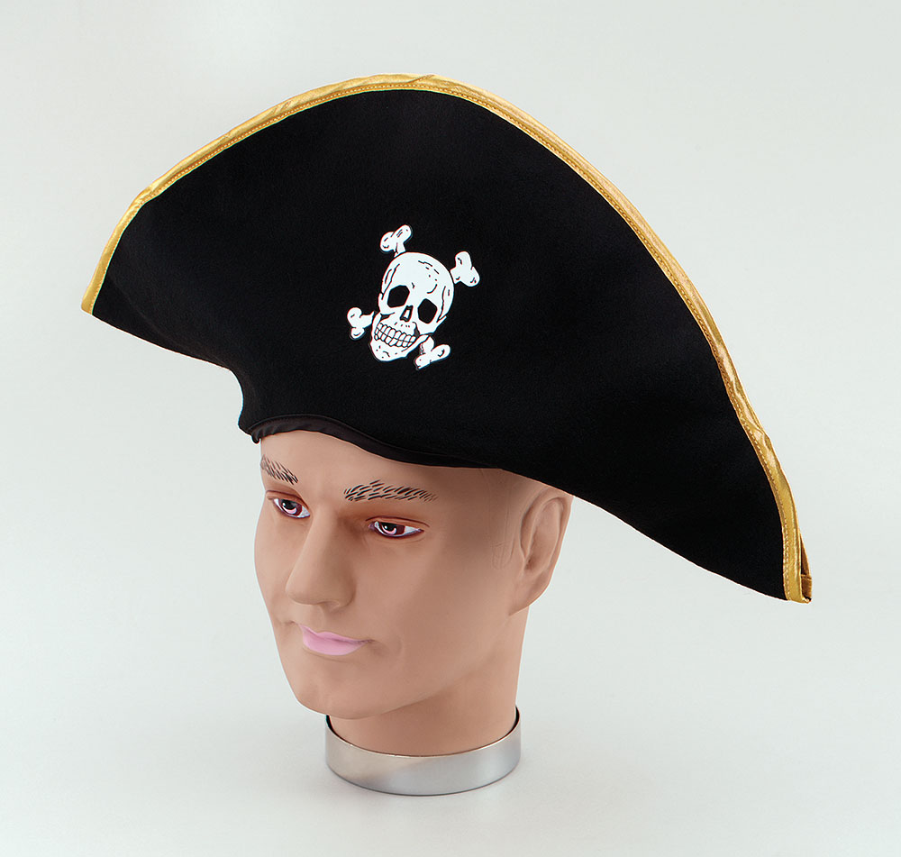 Pirate Hat Fabric/Gold Edging Buccaneer Sailor Jack Blackbeard Fancy Dress