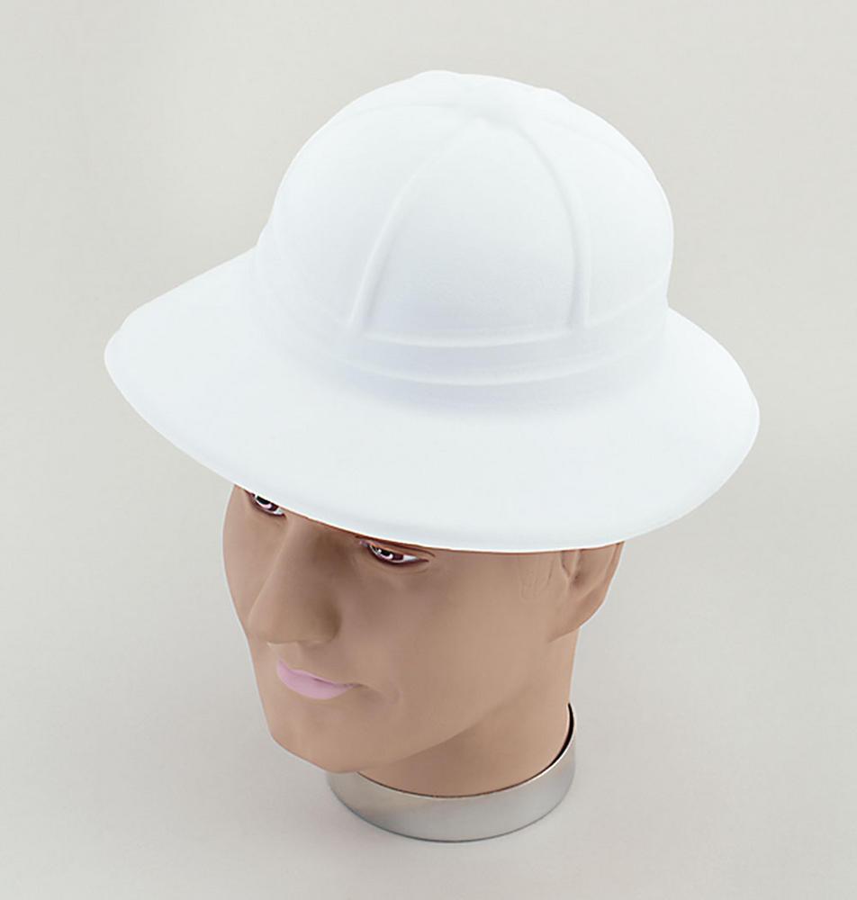 Safari Pith Helmet White Flock Adventurer Hunter Fancy Dress Accessory