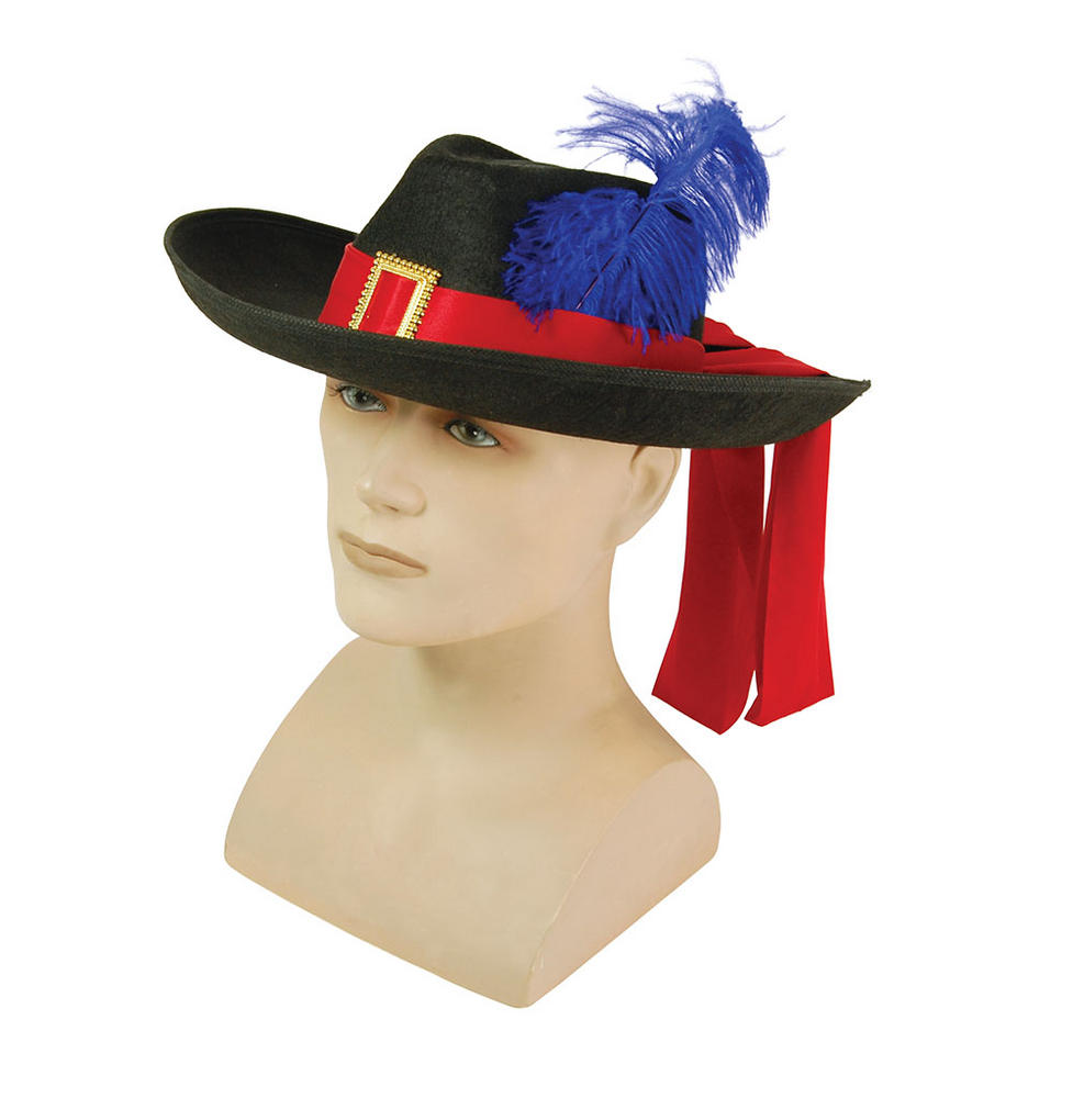 Musketeer Hat Black/Feather Athos Aramis d'Artagnan Fancy Dress Accessory