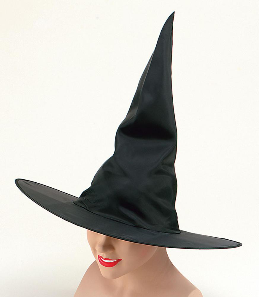 Witch Hat Black Nylon Plain Halloween Oz Eastwick Fancy Dress Accessory