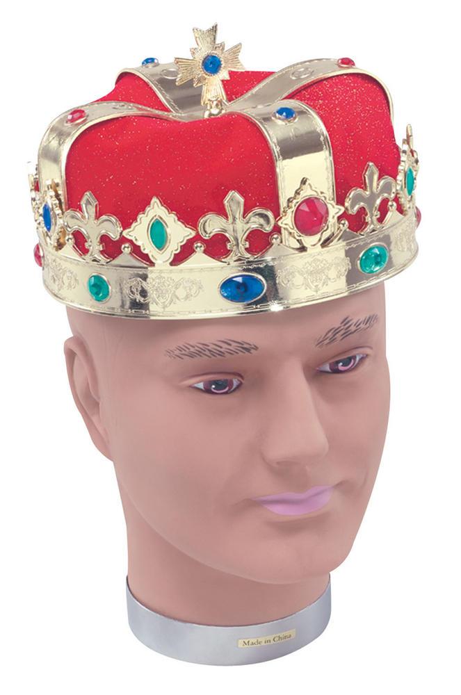 King Hat Gold Plastic & Red Velvet Royal Regal Medieval Ruler Fancy Dress