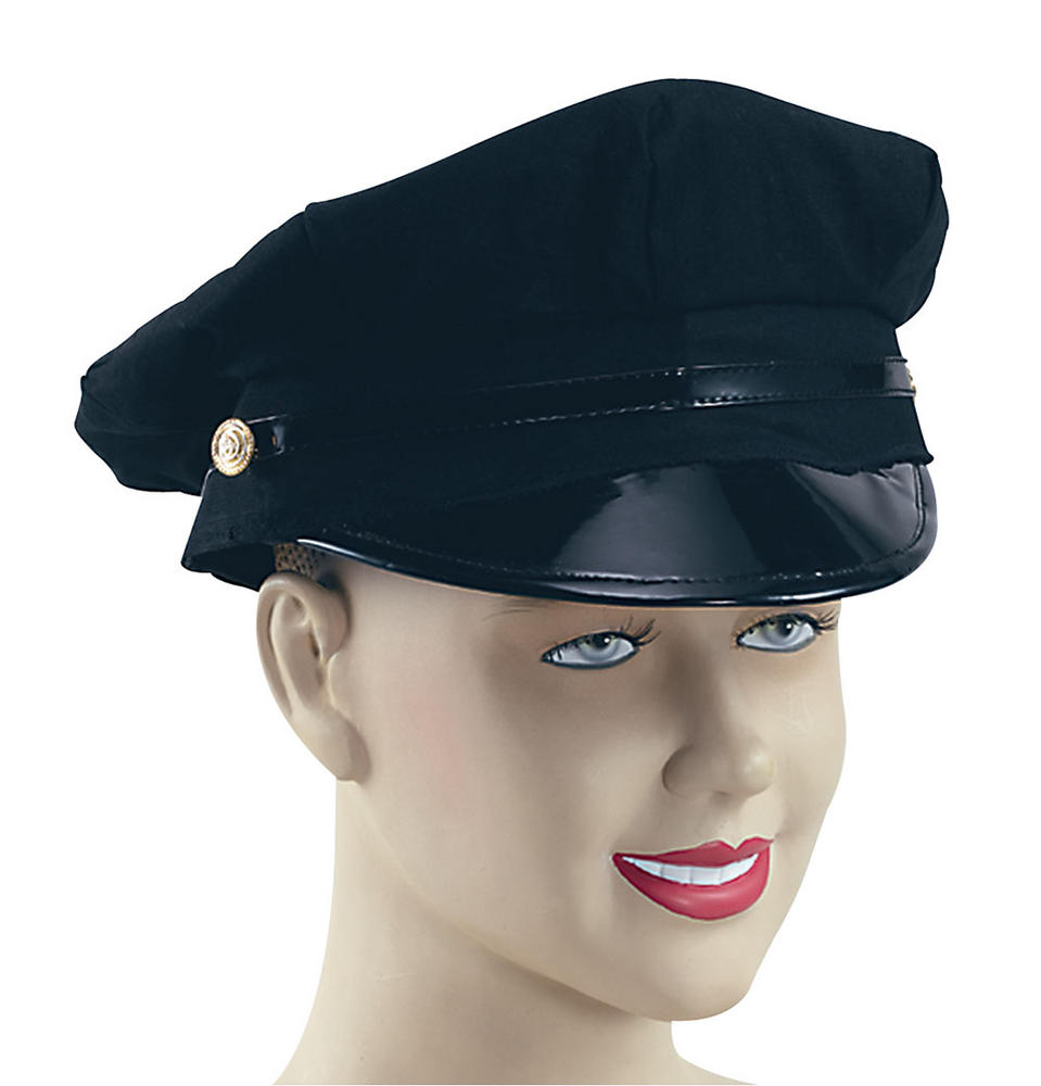 Peaked Chauffeur Driver Hat Black Driver Parker Taxi Fancy Dress Accessory