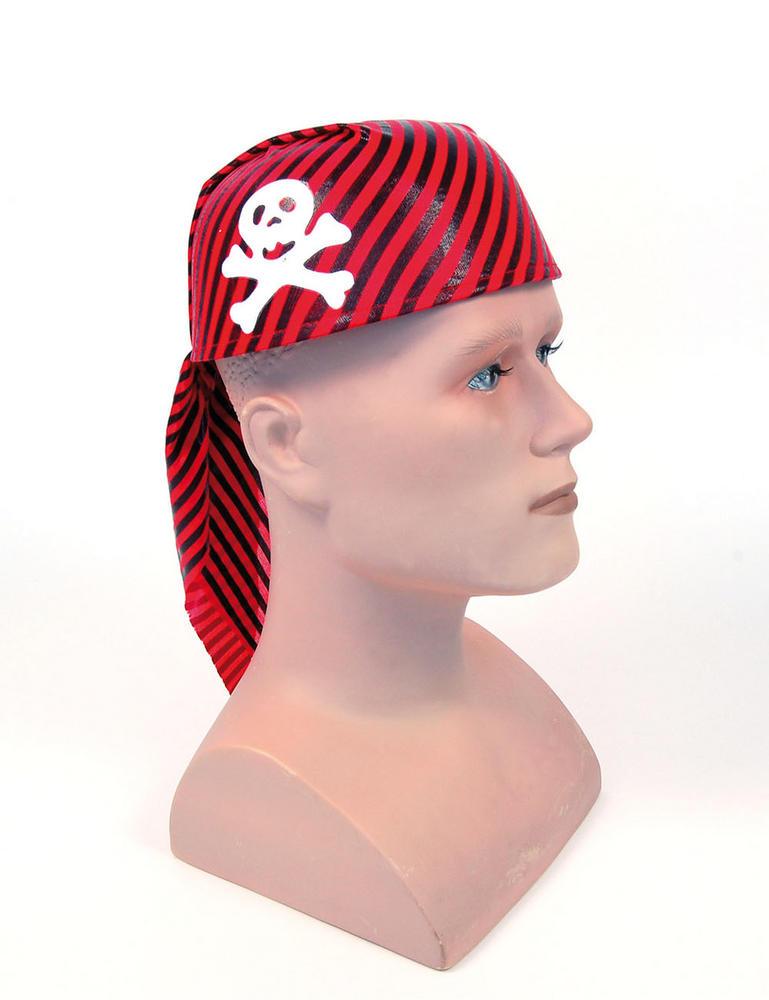 Pirate Skull Hat Red/Black Buccaneer Sailor Jack Blackbeard Fancy Dress