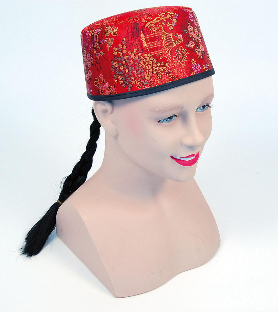 Chinese Mandarin Hat Red Fabric + Plait Oriental Coolie Asian Thai Fancy Dress