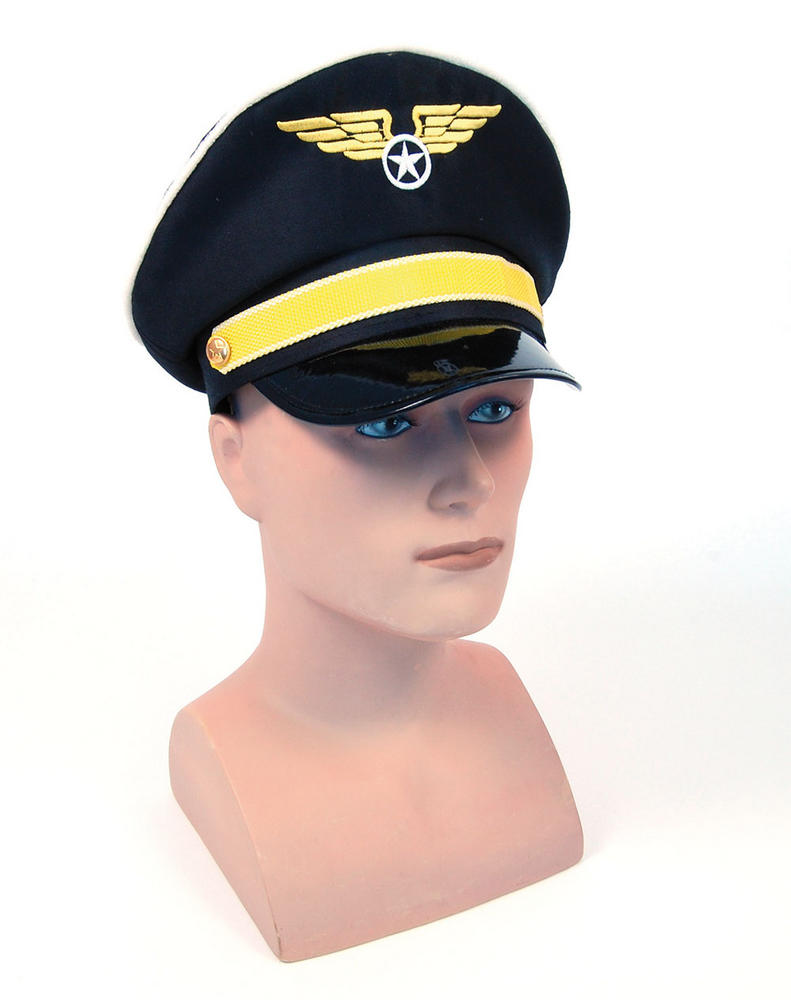 Pilot Hat Airman Air Crew Captain Biggles WWII Officer Fancy Dress Accessory