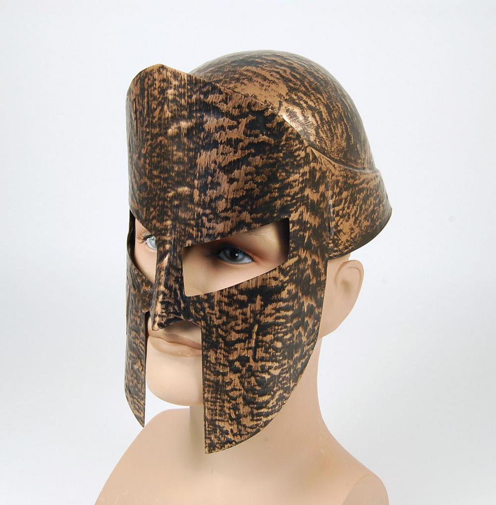 Spartan Helmet 2pc Gold Roman Sparticus Gladiator Ancient Rome Fancy Dress