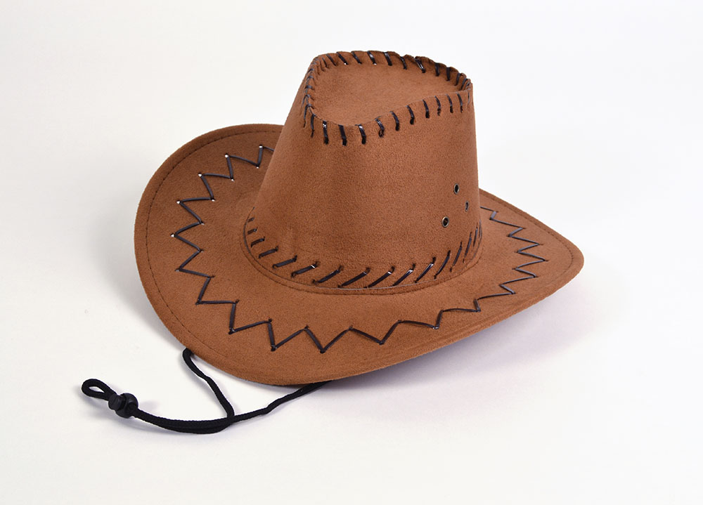 Cowboy Hat Leather Stitched Brown Childs Wild West & Indians Fancy Dress